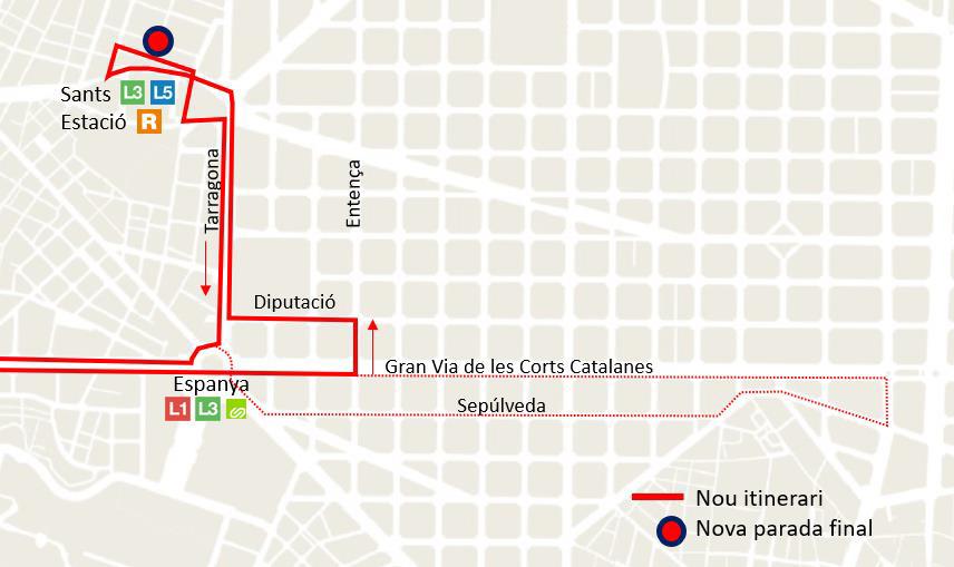Itinerari de la línia L94. Imatge: Ajuntament de Barcelona.