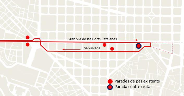 Parades de les línies e14, e15.1 i e16. Imatge: Ajuntament de Barcelona.